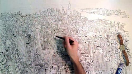 """坂井直樹の""""デザインの深読み"""": 完全にフリーハンドで描いた英国のイラストレーターパトリック・ベールのタイムラプス・ビデオです。"""