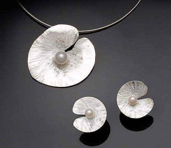 Floating Lily Earrings & Pendant by Chi Cheng Lee. Please note: This item ships from Canada and can only be shipped Ground service.