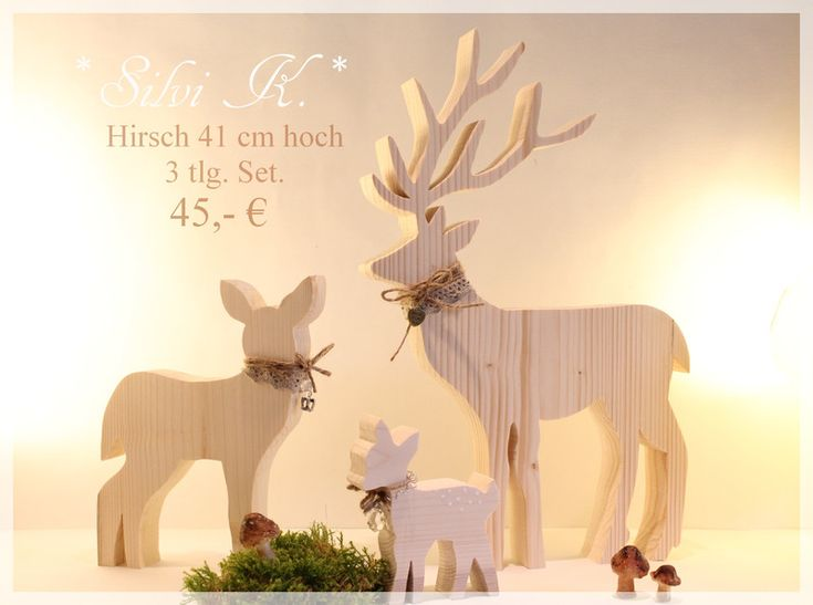 hirsch familie 3 tlg set aus holz von silvi k auf weihnachten pinterest. Black Bedroom Furniture Sets. Home Design Ideas