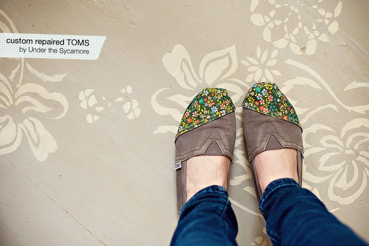got a worn pair of TOMS with holes? I DO! This is a tutorial of how to fix that hole and customize your TOMS. All you need is a denim patch, thick fabric, and fabric glue.