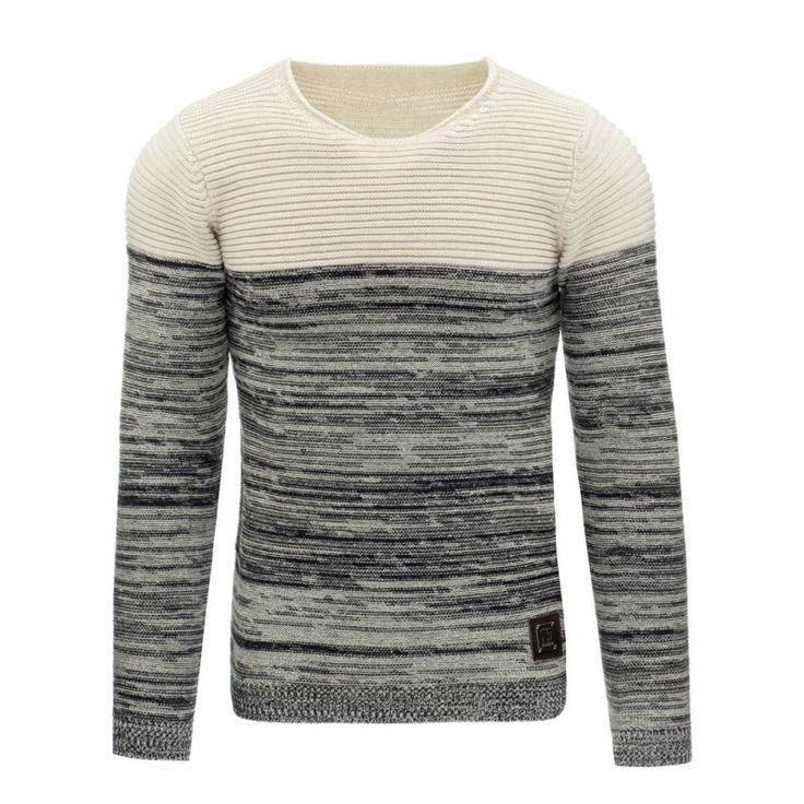 Pánský moderní svetr šedo béžový