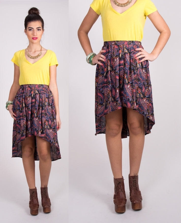 lpm redesigned vintage paisley high low skirt by