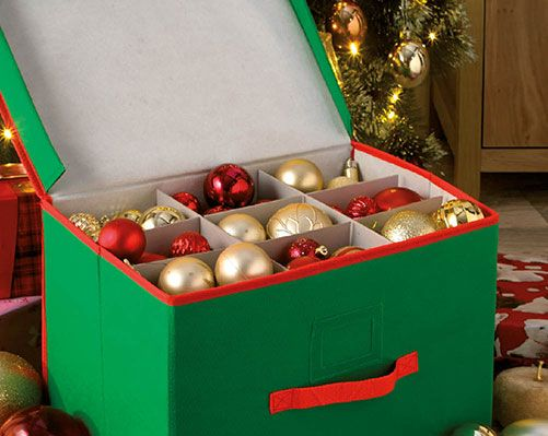 Christmas Ornament Storage Box £13  This square bauble storage box is a great idea for keeping all of your tree decorations together. Size: H40 x W40 x D40cm  Klife Kleeneze Xmas
