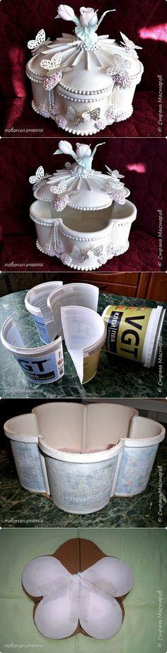 Шкатулка из пластмассовых ведёрок и ложек. МК. | Страна Мастеров