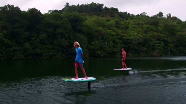 Using hydrofoil technology to raise it above water, the new board is meant to be used in areas where there are no waves.
