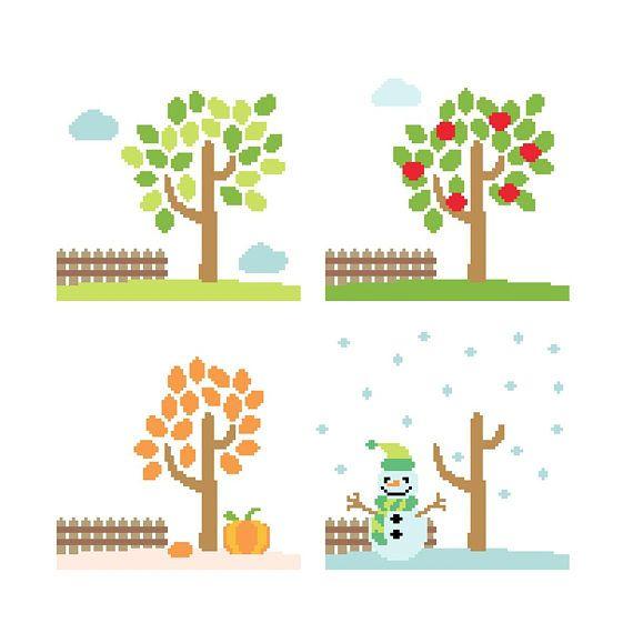 PDF schema punto croce le stagioni  cross stitch pattern