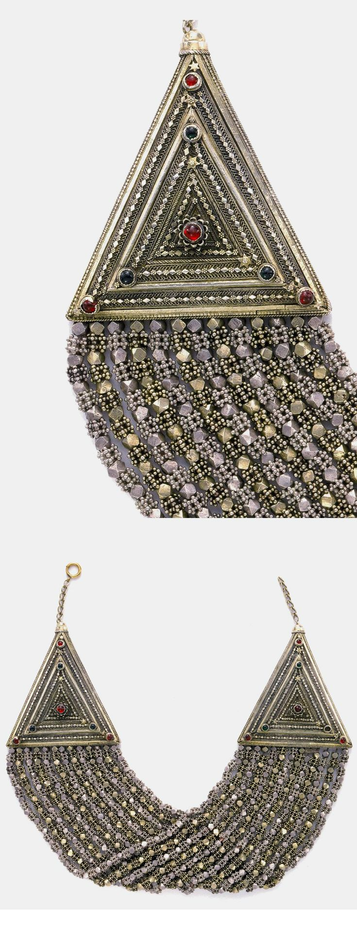 Yemen ~ San'a | Necklace ~  silver: granulated, filigree, parcel-gilt, applique engraved and punched, glass | 19th - 20th century