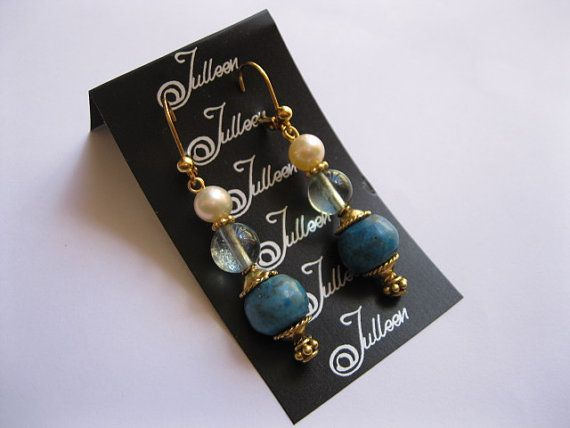 Bright Blue Turquoise and Pearl Earring in Gold Vermeil