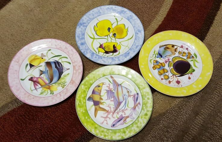 "TROPICAL FISH Set of 4 Dessert PLATES 8"" PORCELAIN By GODINGER Home Essentials"
