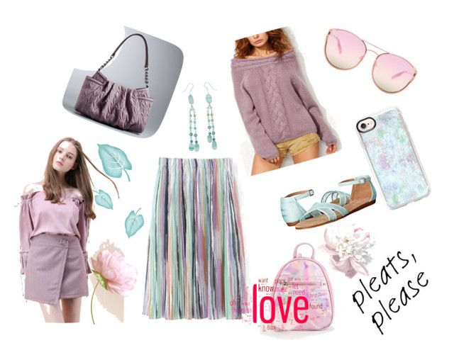 """Pleats Please"" by todokureach on Polyvore featuring Chicwish, TOMS, Simply Vera, Quay, Casetify and NOVICA"