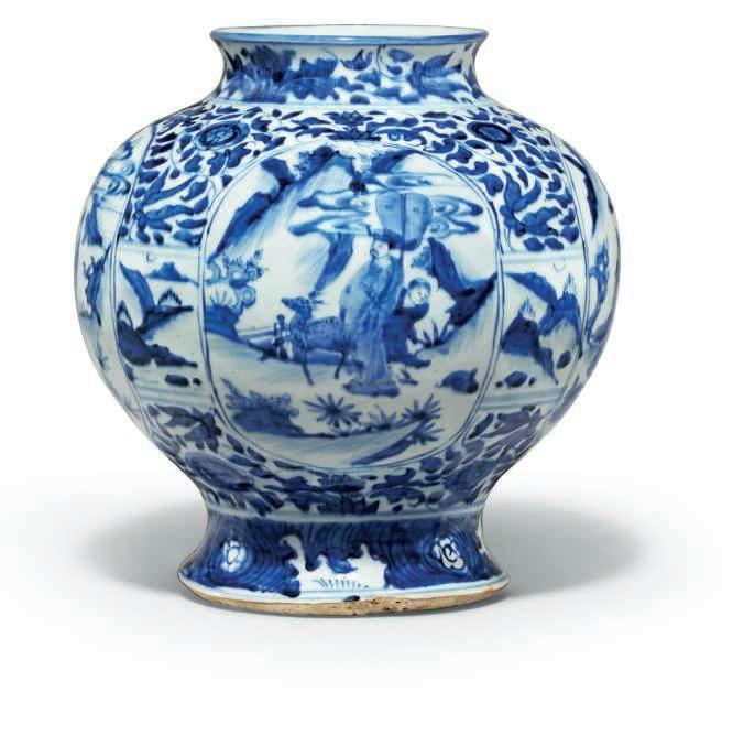 A blue and white globular jar, Shunzhi period (1644-1661)