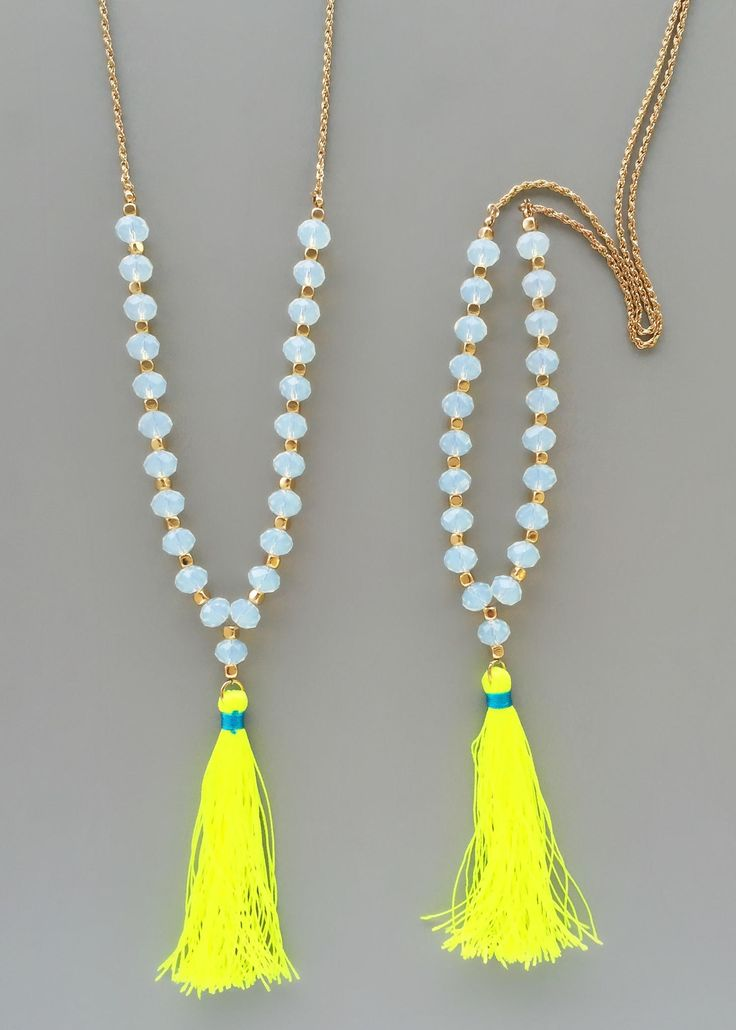 Yellow Neon Beaded Tassel Necklace from Pree Brulee. Saved to Jewelry - Let's Sparkle!.