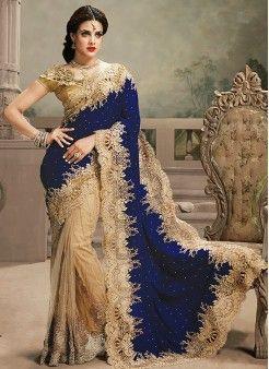 Statuesque Blue & Cream B..http://www.kellyfashions.com/sarees contact #Rohit Thakur  9227928195