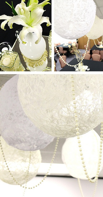 Lace Lanterns with Pearls via Mar-Maladies