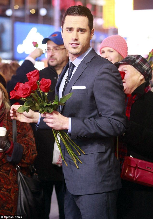 Mr Bachelor! Ben Higgins gave out roses to fans in New York City outside of the Good Morning America studios on Monday