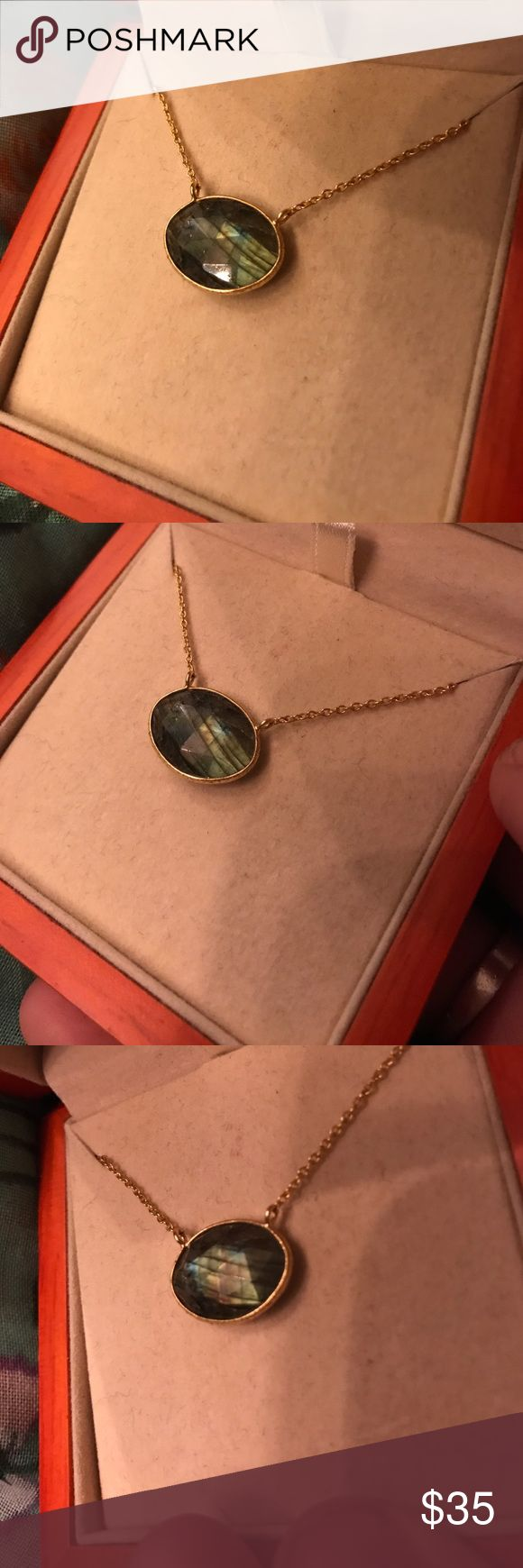 Beautiful Labradorite Necklace I wish I could post a video of this. If you've ever worked with labradorite, you probably know how hard it is to capture the flash on camera. This is stunning and still in the original box. Open to offers/bundles. Argento Vivo Jewelry Necklaces