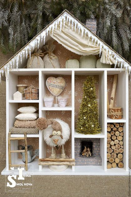 Кукольный дом ручной работы. Ярмарка Мастеров - ручная работа. Купить ДОМ, где зимует овечка. Handmade. Бежевый