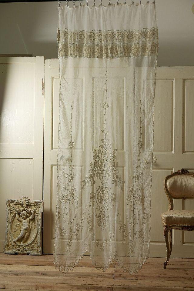 アンティーク フラワーレースカーテン(細身) French Vintage Lace Curtain