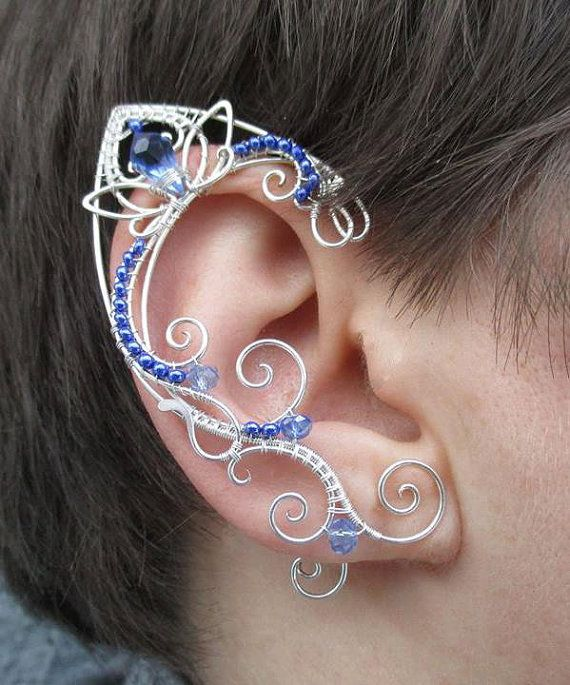 Pair of elven ear cuffs Galactic ghost by StrangeThingJewelry