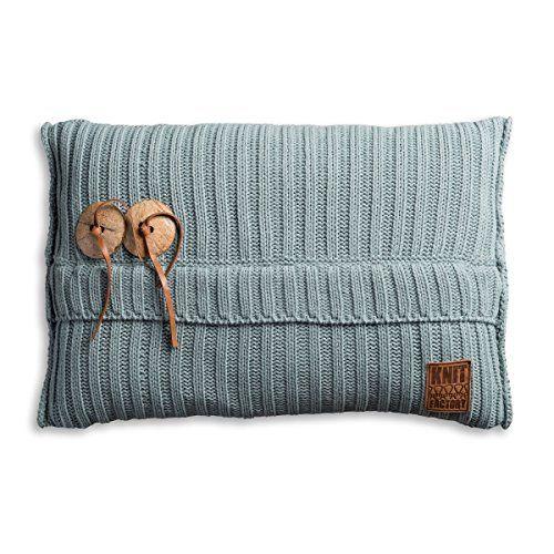Knit Factory 1101309 Dekokissen Strickkissen Aran mit Füllung, 60 x 40 cm, stone grün