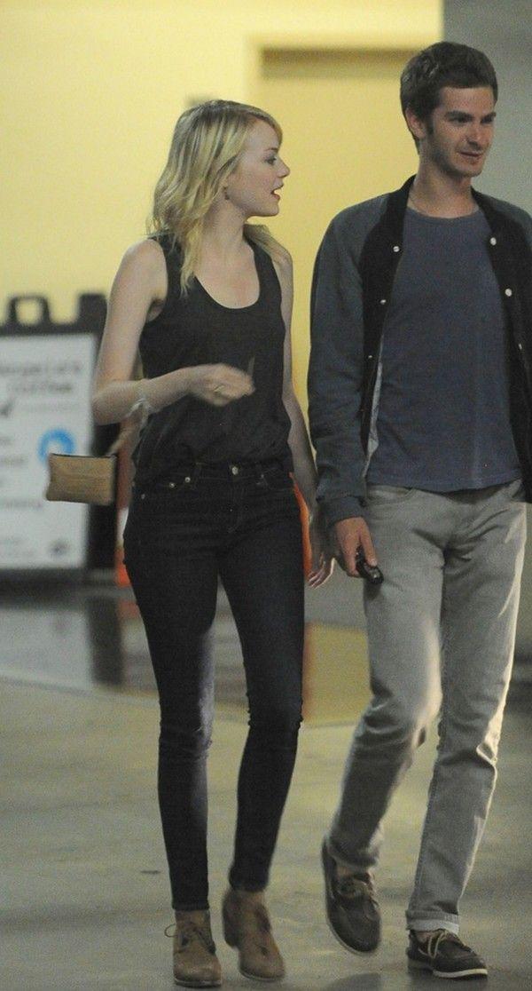 Emma Stone in Rag & Bone Skinny in Harrow and Andrew Garfield in Levis -