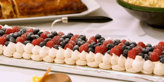 Mary Berry meringue tranche with berries and cream --recipe on Mary Berry Cooks