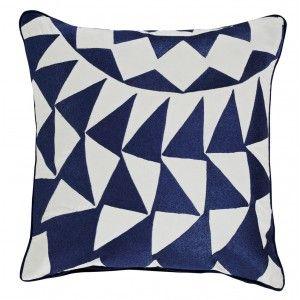 Blue Signal Embroidered Cushion