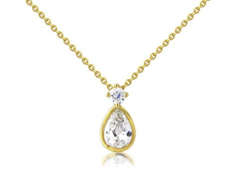 Pear crystal drop sterling silver pendant. Round and pear simple crystals with 14ct gold toning.