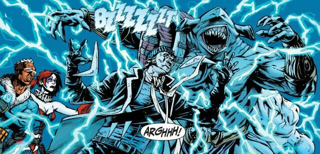 Suicide Squad under attack; King Shark ,Iceberg,Harley Quinn, and Captain Boomerang