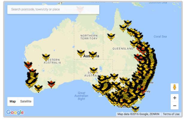 And here are all the reported magpie attacks in 2016. Eek!   29 Maps Of Australia That Will Kinda Blow Your Mind