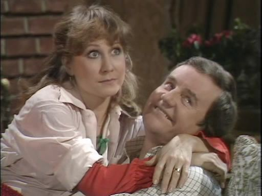 Felicity Kendall and Richard Briers in The Good Life Christmas Special. BBC Television, 1977