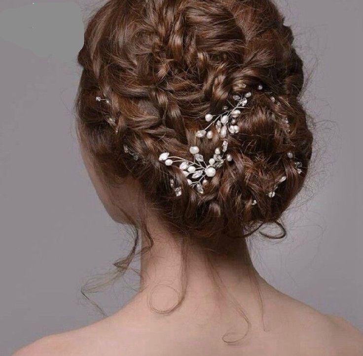 6pcs  Pearl Rhinestone Hair plug wedding bride headdress handmade jewelry small hairpin wedding accessories other headdress