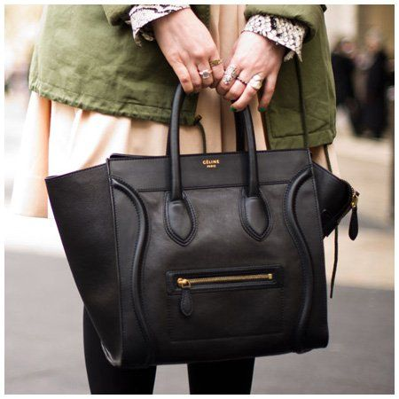 Céline sac à main cuir noir handbag