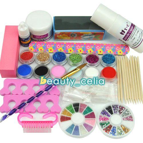 Pro-Acrylic-Liquid-Clear-Powder-Nail-Art-Glitter-Tips-Glue-Brush-File-Tools-Kits