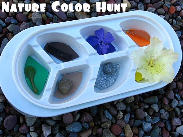 Go for a Nature Color Hunt on your natural playground!  I love this idea - place different colors of paper in the sections of an ice cube tray.  Children can go on a scavenger hunt across their natural playscape to find the colors in nature.
