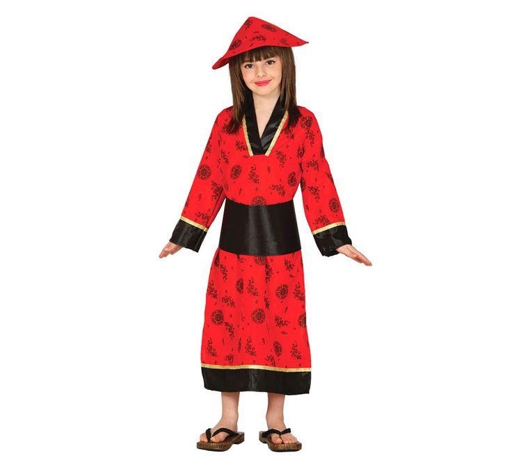 Disfraz de China en para niña. Incluye gorro, fajín y kimono. Completa este disfraz con artículos de nuestra sección de accesorios como maquillaje, palos, sombrero, peluca...