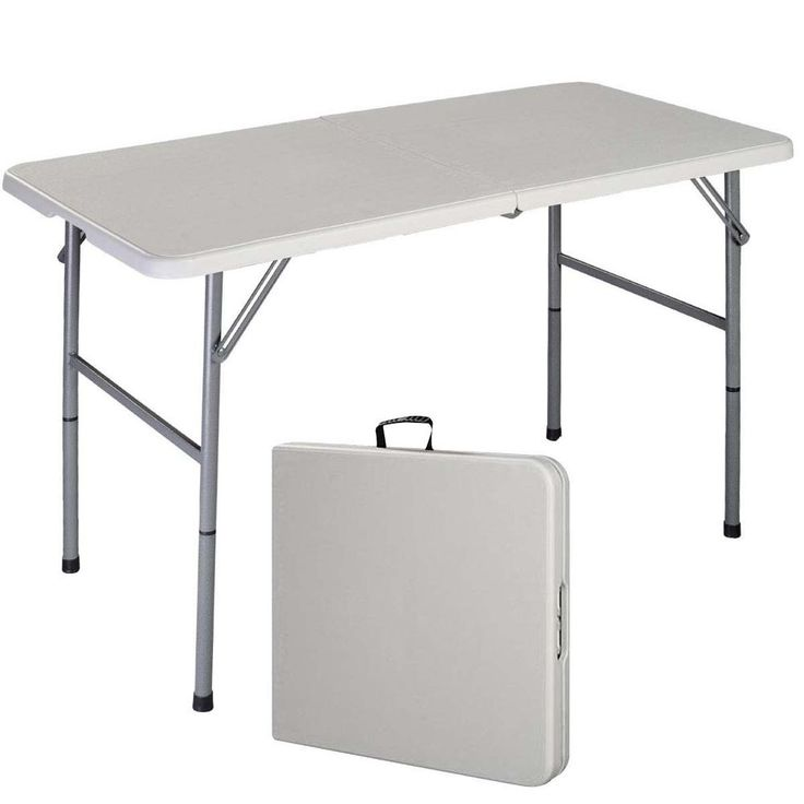 4u0027 Folding Table Portable Plastic Indoor Outdoor Picnic Party Dining Camp  Tables