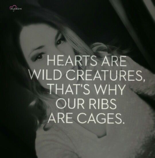 Hearts are wild creatures. That's why our ribs are cages