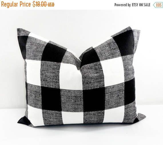 SALE Black Pillow. 16x20 Lumbar Black Buffalo  Check.  Cushion