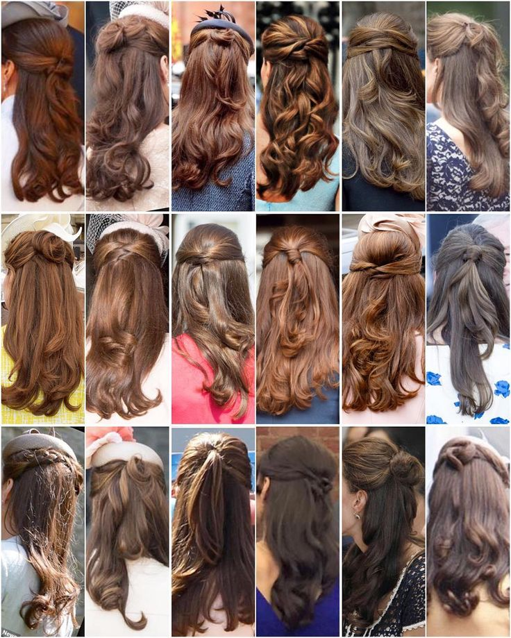 Kate's beautiful half-updo's  Notice that each one is slightly different. I never knew there were so many different ways to do one's hair before coming across Kate