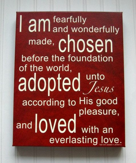 Chosen Adopted Loved 12x15 Canvas Wrap Red by kisstheskyshop, $45.00