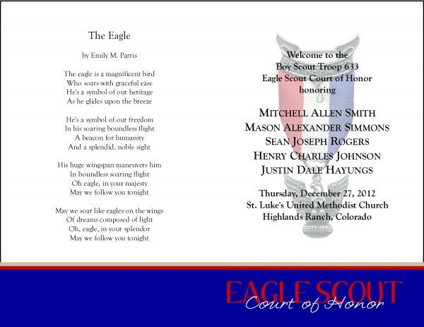 59 best bs eagle coh invites programs images on for Eagle scout court of honor program template