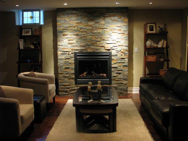 Best Amazing Basements Images On Pinterest Basement Ideas - Basement fireplace design ideas