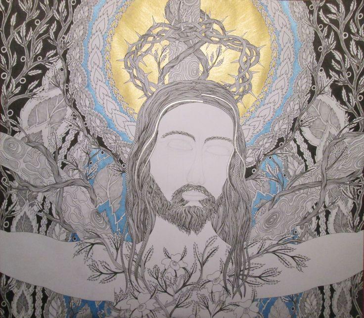 Jesus 2016, autorská perokresba 11/12/2016, Detail Johana Hájková https://cz.pinterest.com/johanahajkova/johana/