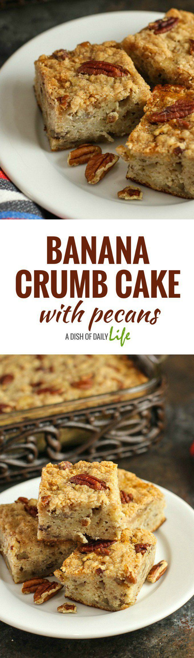 Banana Crumb Cake with Pecans...an absolutely delicious cross between banana bread and crumb cake! Dress it up with a scoop of ice cream or enjoy it as an anytime treat! Your family and friends will be asking you for the recipe!
