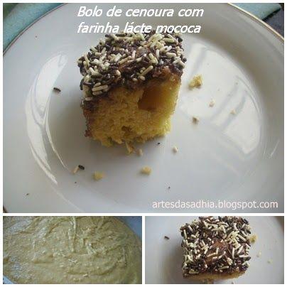 Esses dias fiz esse bolo,estava querendo inventar na cozinha e comecei a fazer arte .....inventei uma receita de bolo de cenoura com fari...