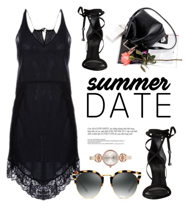 """Summer Date"" by genuine-people ❤ liked on Polyvore featuring Giorgio Armani, Schutz, black, summerdate and rooftopbar"