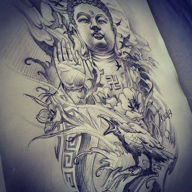Chronic Ink Tattoo - Toronto Tattoo. Buddha sketch by Master Ma.
