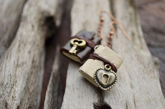 Heart Lock & Key Miniature book earrings brown cream by fullmoonn, $6.50