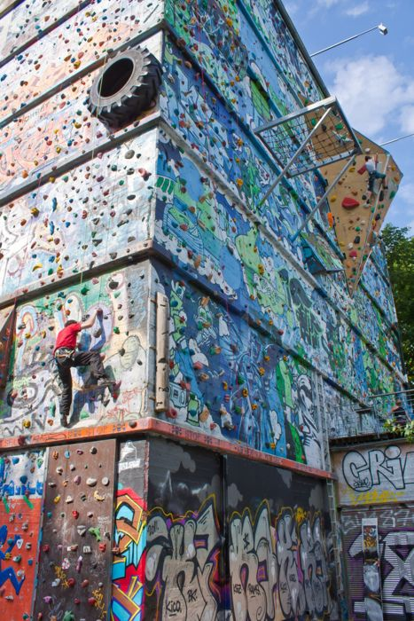 Outdoor climbing wall at Schanzenpark in  Hamburg, Germany. According to one Flickr account, the building is an old WWII bunker. Its exact address is on http://thesmalleningworld.com/the-smallening-world/2012/07/16/graffiti-climbing.